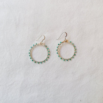 Woven Ola Earrings with Turquoise in Silver Earrings Sayulita Sol Jewelry