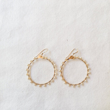 Woven Ola Earrings with White Pearl in Gold Earrings Sayulita Sol Jewelry