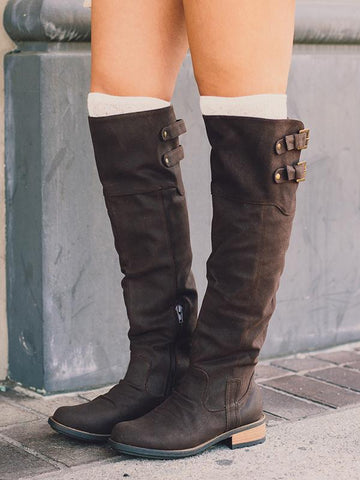 Fashion Solid Flat Knee High Boots - Zebrant