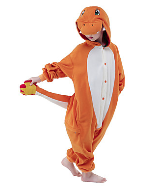 Kid's Kigurumi Pajamas Dragon Onesie Pajamas Velvet Mink Orange Cosplay