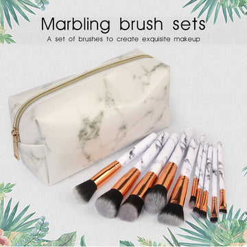 White Professional Marble Makeup Brush Set Premium with Travel Cosmetic Bag( 10 pcs )