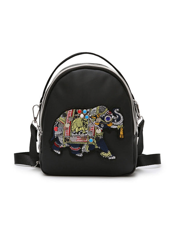 Nylon Elephant Embroidery Backpack Multi-function Casual Shoulder Bag - Zebrant