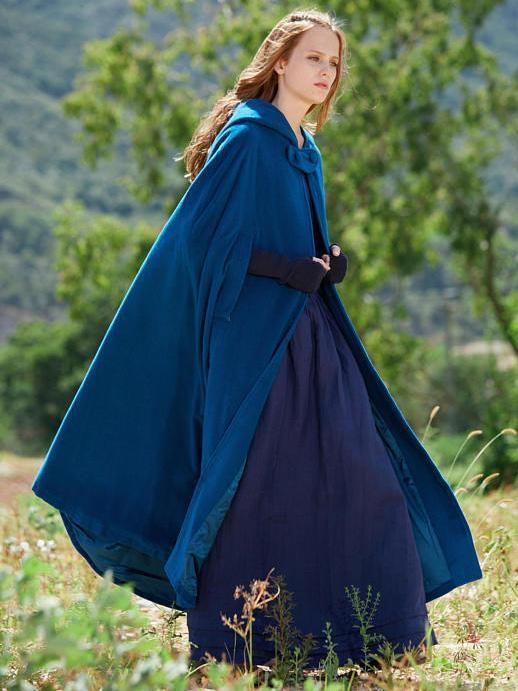 Blue Hooded Cloak Trench Cape Outwear - Zebrant