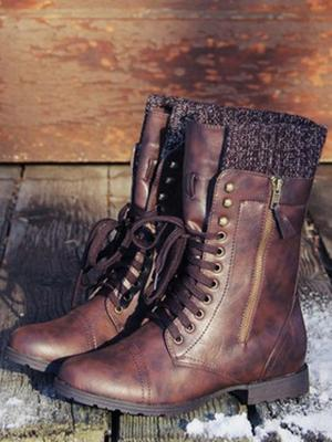 Vintage Knitting Wool Boots Mid Calf Boots - Zebrant