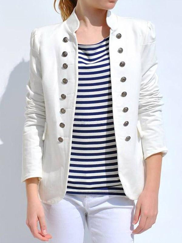 Casual Solid Wrap Long Sleeves Blazer - Zebrant