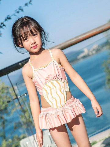 AONIHUA Solid Pink Sweet Girl Dress Swimwear - Zebrant