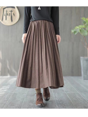 Plain Casual Pleated Skirt
