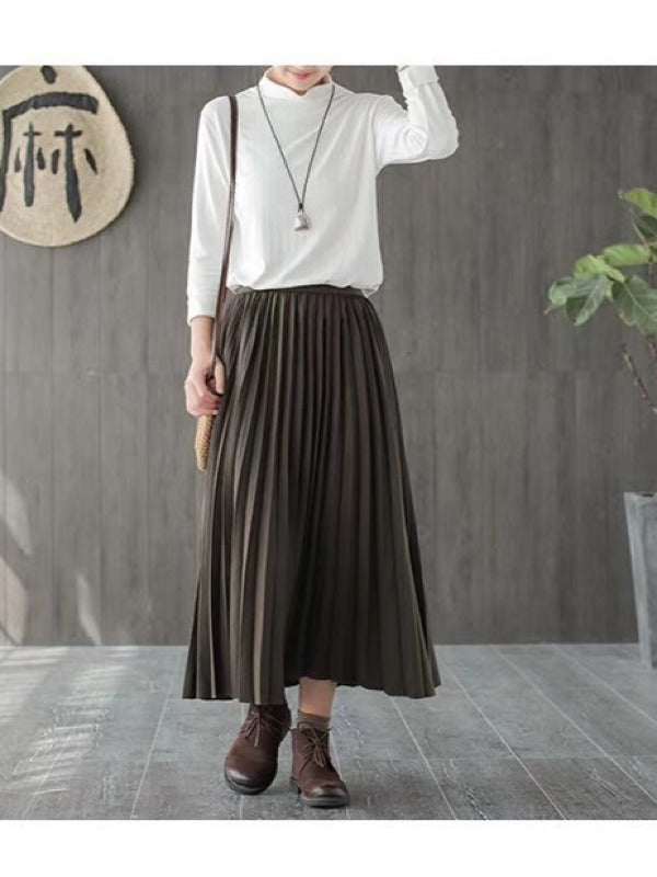 Plain Casual Pleated Skirt - Zebrant