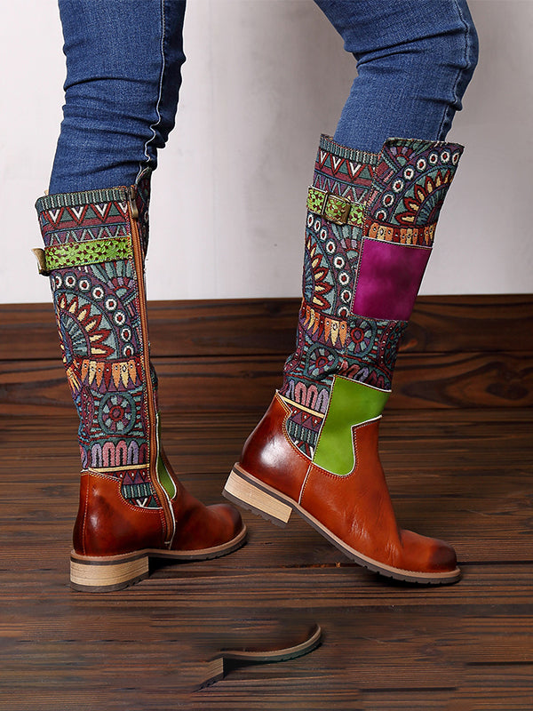 Boho leather Overknee boots - Zebrant