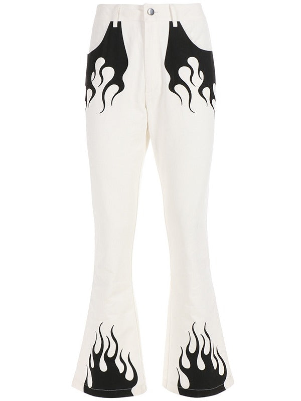 Fashion White Printed Casual Pants ACTIVE WEAR - Zebrant