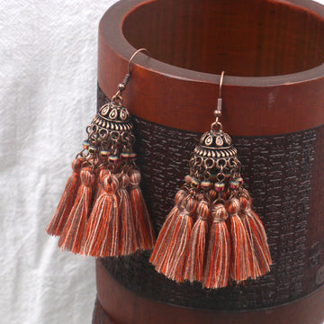 Exaggerated crystal long retro multi-layer tassel earrings Bohemia Earrings Wholesale - Zebrant