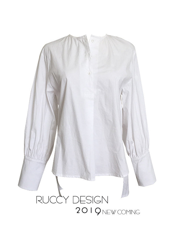Casual Puff Sleeve White Shirt - Zebrant