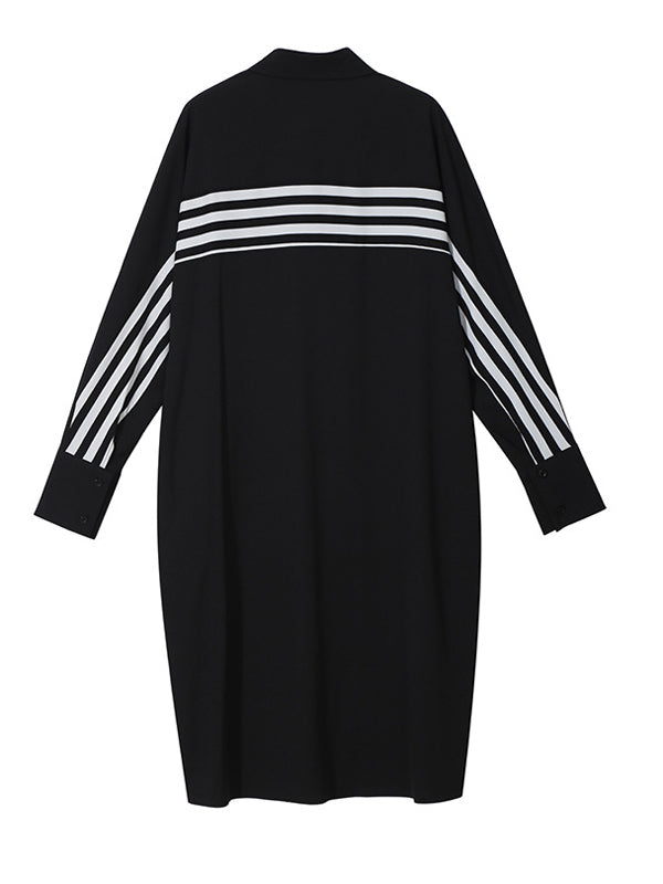 Vintage Striped Chiffon Split-joint Midi Dress - Zebrant