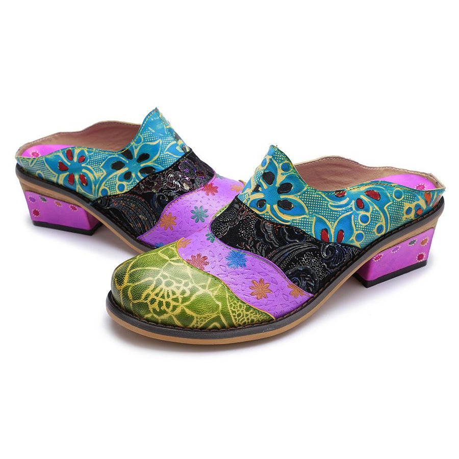 Splicing Genuine Leather Print Slipper Retro Sandals - Zebrant