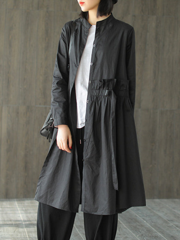 Casual Solid Ruffled Cardigan Outwears - Zebrant
