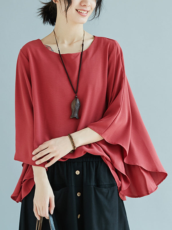 Solid Cropped Flared Sleeves Tops - Zebrant