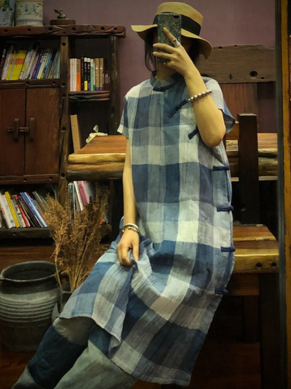 ORIGINAL DESIGNED PLAID BUTTON DRESS - Zebrant