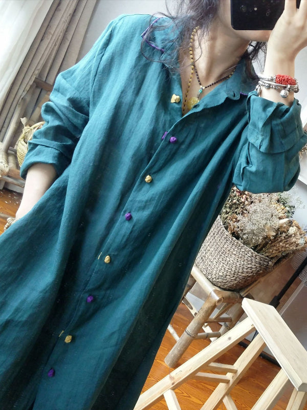 Retro Casual Linen Long Shirt Shirt - Zebrant
