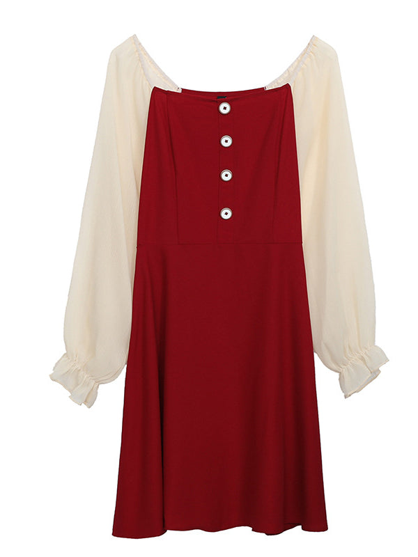 Elegant Plum A-line Long Sleeve Dress - Zebrant