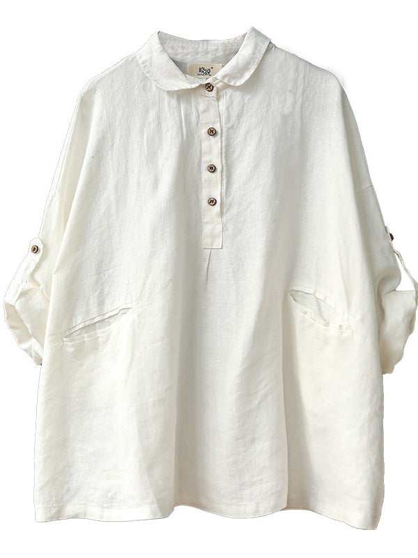 Loose Solid Linen Lapel Shirt - Zebrant