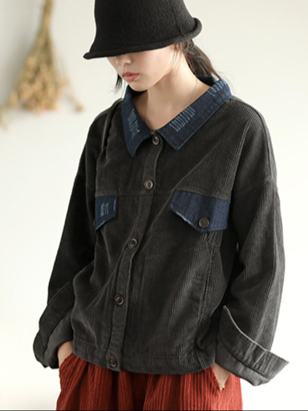 Vintage Split-joint Corduroy Denim Jacket - Zebrant