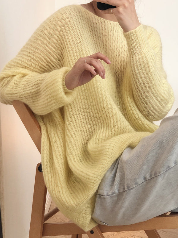 LOOSE SOLID MOHAIR SOFT-SKIN KNITTING SWEATER - Zebrant