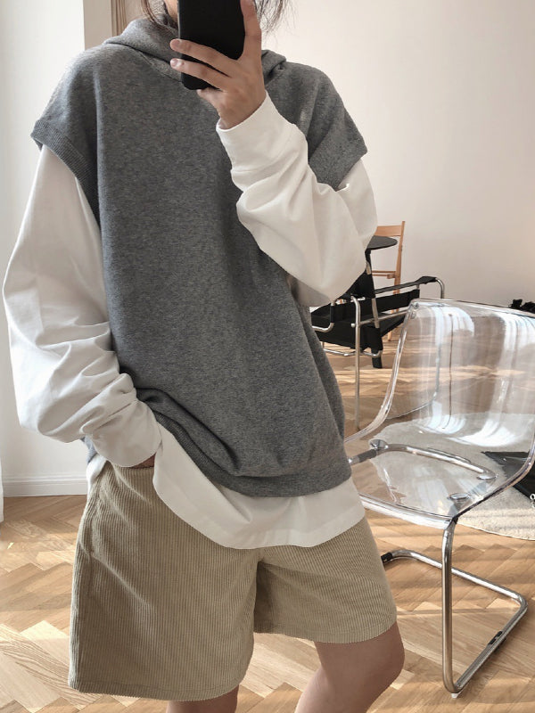 Casual Solid Hoodie Knitting Vest - Zebrant