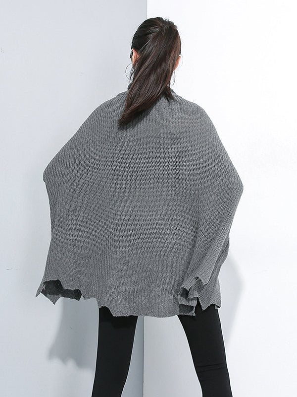 PLAIN LOOSE CROPPED TURTLENECK SWEATER - Zebrant