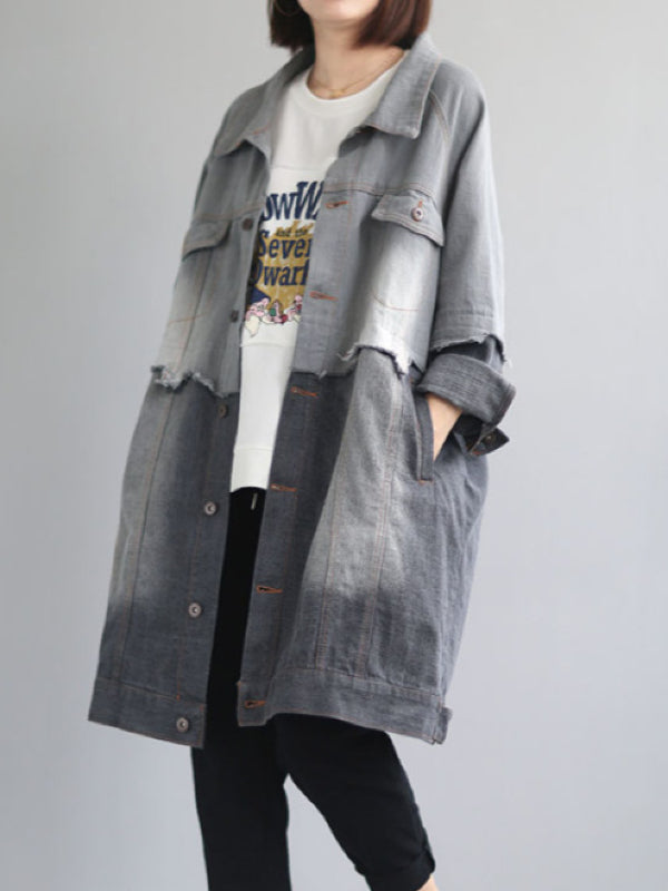 VINTAGE SPLIT-JOINT LAPEL DENIM OUTWEAR - Zebrant