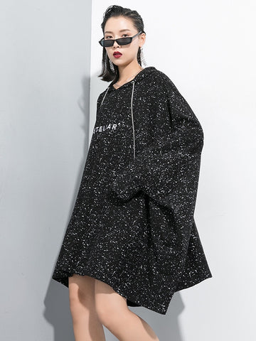Casual Snowflake Point Letter Sweatshirt Dress