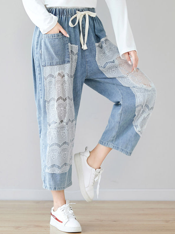 Lace Split-joint Drawstring Jean Pants - Zebrant