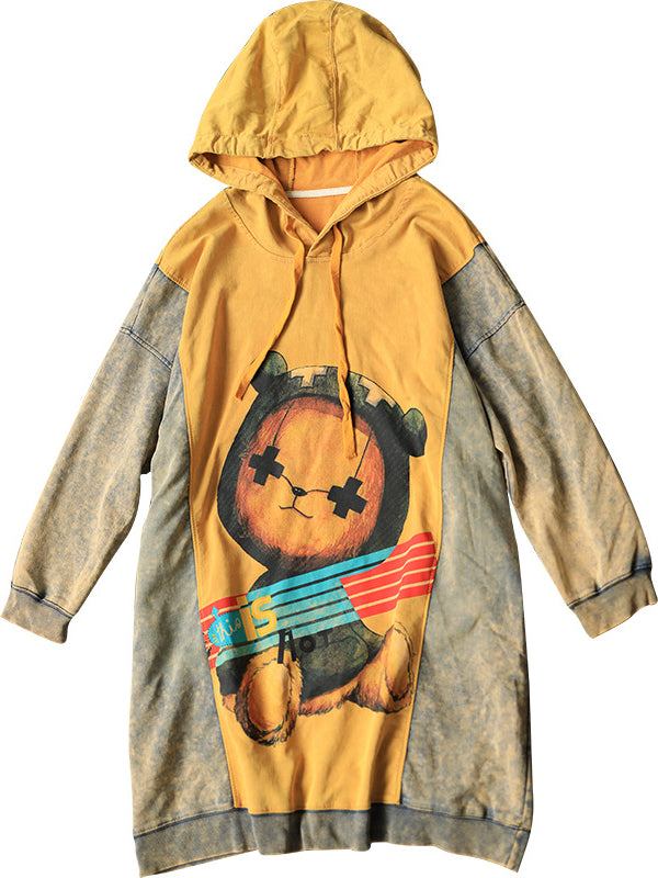Casual Cartoon Printed Sweatshirt Dress - Zebrant