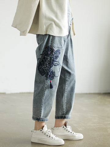 Casual embroidered Jean Pants - Zebrant