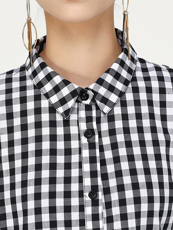 Original Cropped Split-joint Plaid Shirt Dress - Zebrant