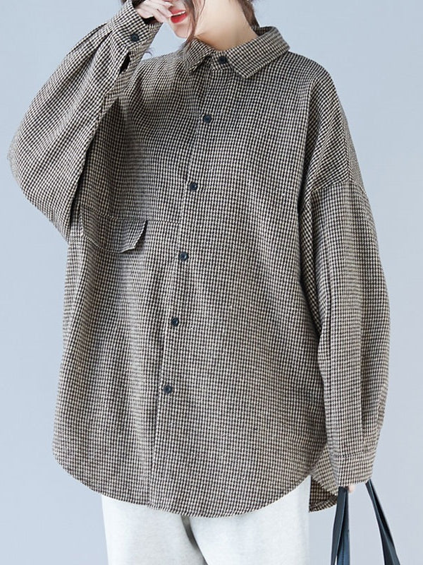 Loose BF Style Plaid Thicken Shirt - Zebrant
