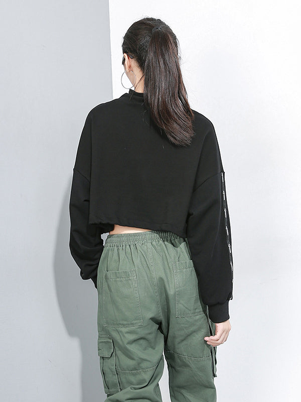 CASUAL ZIPPER BARE MIDRIFF SWEATSHIRT - Zebrant