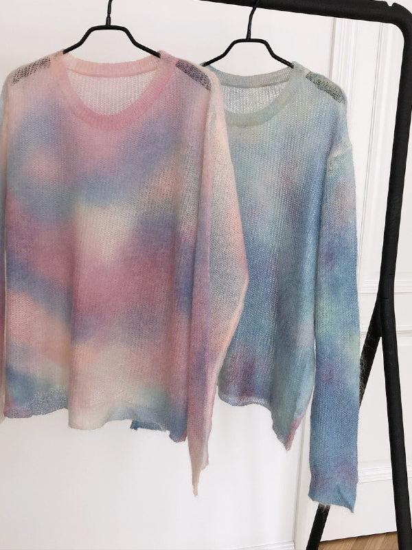 Loose Tie-dyed Mohair Knitting Sweater - Zebrant