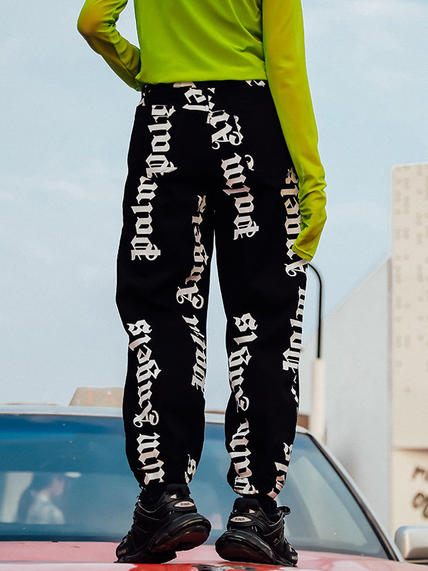 Casual Empire Letter Printed Jean Pants - Zebrant