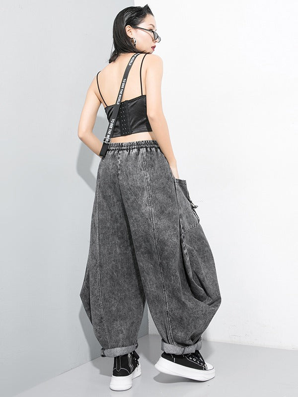 LOOSE STITCHING RIBBED JEAN WIDE LEG PANTS - Zebrant