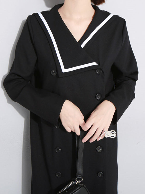 Sailor Collar Fishtail Pleated Windbreaker - Zebrant