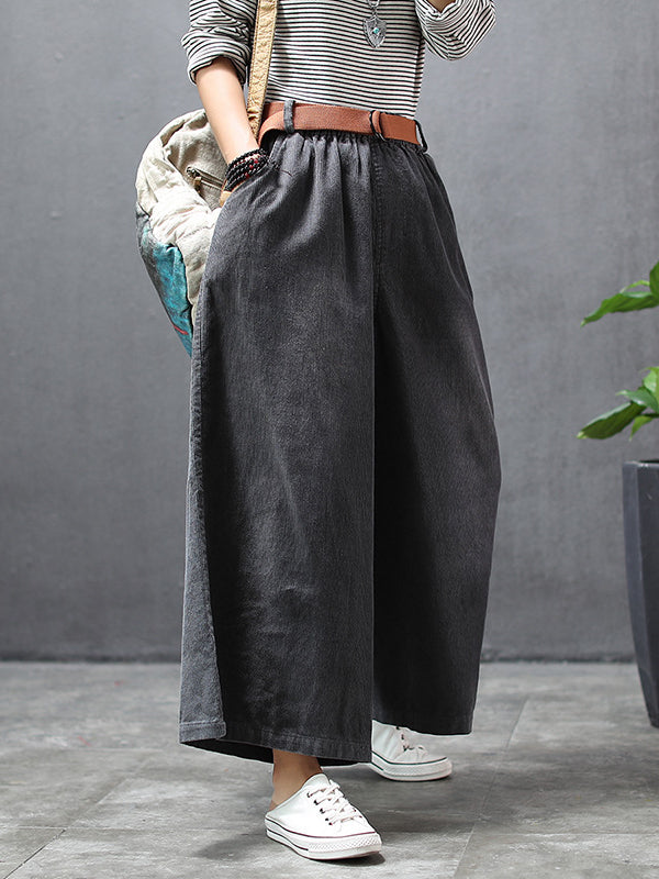 Loose Wide-leg Corduroy Pants - Zebrant