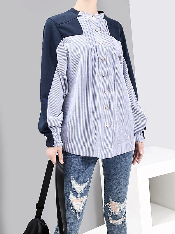 Casual Striped Split-joint Shirt - Zebrant