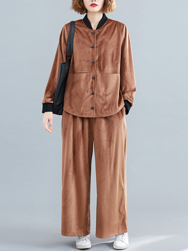 Casual Solid Outwears&Pants Suits - Zebrant