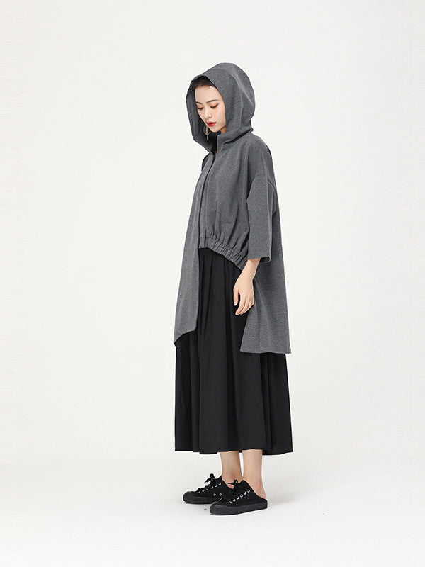 Casual Cropped Hooded Light Outwear - Zebrant