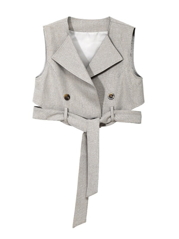 Casual Solid V-neck Belted Vest&Dress Suits - Zebrant