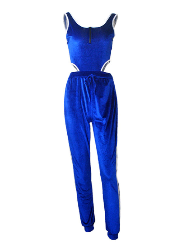 Drawstring Velvet Bodysuits&Pants Sports Suits - Zebrant