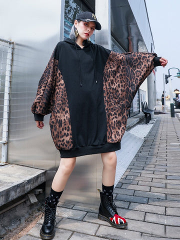 Loose Leopard Printed Split-joint Hoodie Sweatshirt
