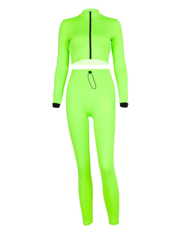 Solid Zipper Tee&Leggings Sports Suits - Zebrant