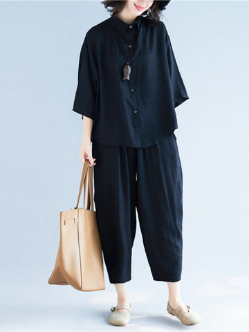 Two-Pieces Black Loose Shirt And Ninth Pants Suit - Zebrant