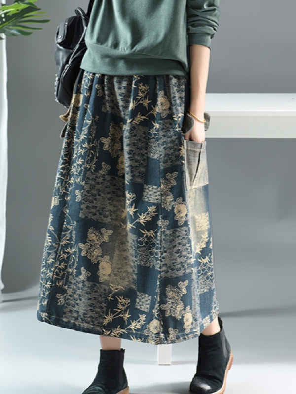 Floral Printed A-line Pocket Skirt - Zebrant